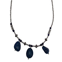 MNA-177,Lapis Stone Silver Oxidised Bead Necklace,Nickel Free1-a