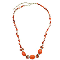 MNA-178,Red Onyx Brass Silver Oxidised Beads Necklace,Nickel Free a
