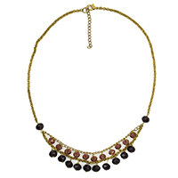MNA-180,Amethyst Double Tone Cut Glass Gold Plated Necklace,Nickel Free a