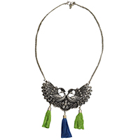 MNA-183,Double Peacock Green & Blue Tassel Chain Necklace,Nickel Free-a