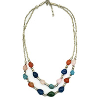 MNA-192,Multed Stone Beads Silver Plated Beads 2 Rows Necklace,Nickel Free a
