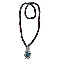 MNA-196,Wood Green Bead Peacock Feather Stone Pandle Long Chain,Nickel Free-aaa