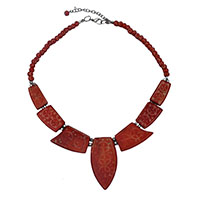 MNA-198A,Red Carving 7 Pieces Bone Beads Silver Tone Necklace,Nickel Free-a