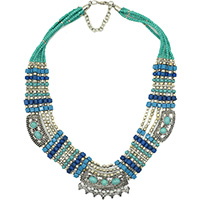 MNA-199,Tribal Green Blue Glass Wood Shade Beads Brass Silver Oxidised Pandle Stone 6 Rows Necklace,Nickel Free a