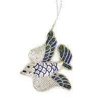 Flying Sparrow Bird Ornament-Silver