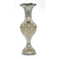 MVA-707B,Silver Plated Golden Shade Flower Vase @-a
