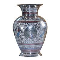 MVA-709B,Mughal Meena Work Peacock Flower Vase-a
