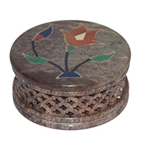 MWA-1427,Stone Multed Flower Peach Work Jali Gift Box-a