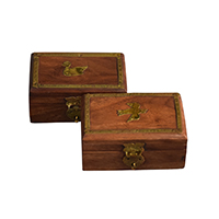 MWA-1445,Sheesham Wood Brass Small Gift Box-Duck & Eagle1-a