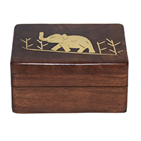 MWA-1447,Sheesham Wood Brass Elephant Small Gift Box-a