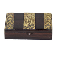 MWA-1448,Sheesham Wood Brass Flower Work Gift Box-a