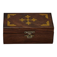 MWA-1453,Sheesham Wood Brass Work Gift Box-a