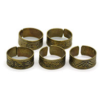 MAtA-2601,Different Design Toe Rings Brass Dull Oxidised,Nickel Free,Set of 5-a