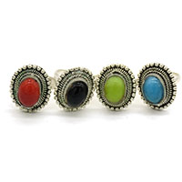 MAtA-2602,Multed Color Stone Silver Oxidised Toe Rings,Nickel Free,Set of 4a-a