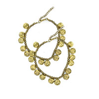 MAtA-2604,Coin Gold Oxidised Anklet,Nickel Free,Set of 2