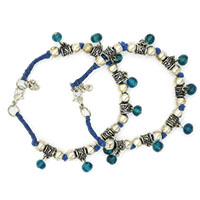 MAtA-2605,Desi Blue Thread Blue Trans Glass Brass Silver Plated Anklet,Nickel Free,Set of 2-a
