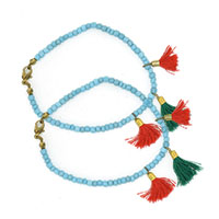 MAtA-2606,Turquoise Glass Beads Red & Green Tassal Anklet,Nickel Free,Set of 2-a