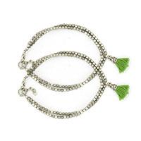 Sajai Tippi Silver Anklets-Set of 2