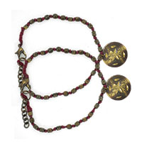 MAtA-2609,Red Thread Brass Oxidised Small Bead Brass Flower Charm Anklet,Nickel Free,Set of 21-a