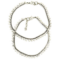 Rajasthani Simple Silver Plated Anklets-Set of 2