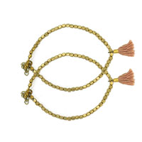 MAtA-2614,Simple Gold Plated Bead Brown Cap Cotton Tassel Anklet,Nickel Free,Set of 21-a