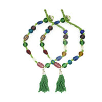 MAtA-2615,Multi Glass Green Cotton Knot& Thread Tassel Brass Silver Plated Anklet,Nickel Free,Set of 21-a