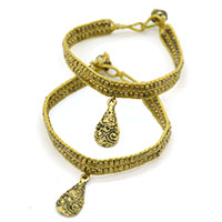 Yellow Thread & Beads Anklets,Set of 2