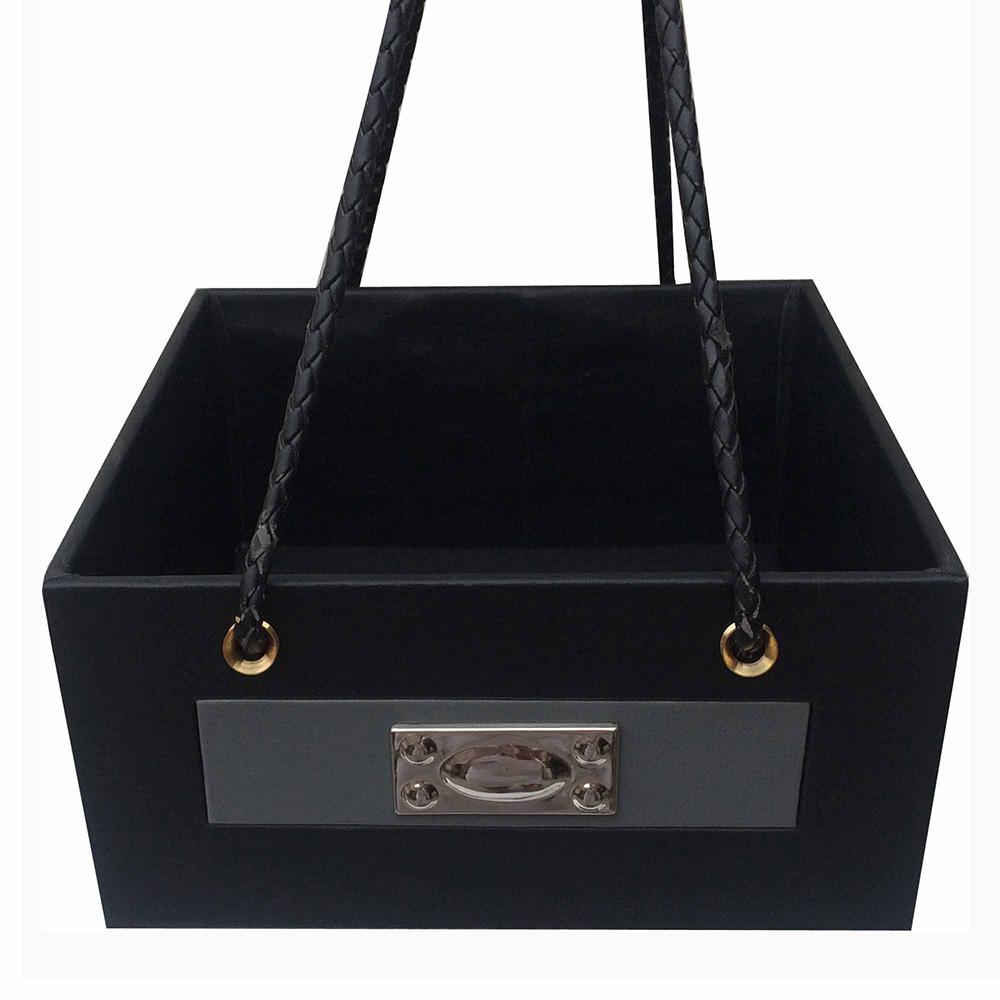 Black Grey Leather Silver Clip Basket
