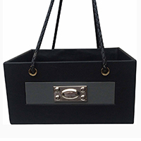 Black Grey Leather Silver Clip Basket