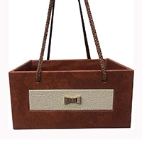 MBkA-1203,Brown Leather Cream Window Gold Plated Bow Basket-a