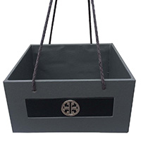 Grey Black Leather Silver Buckle Basket