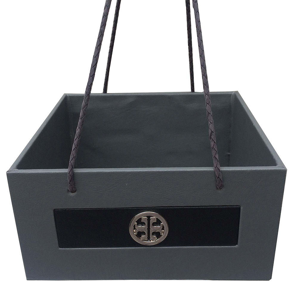 Grey Black Leather Silver Buckle Basket