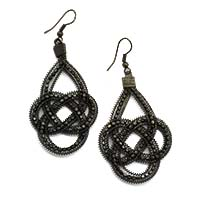 Black Beaded Wired Earrings
