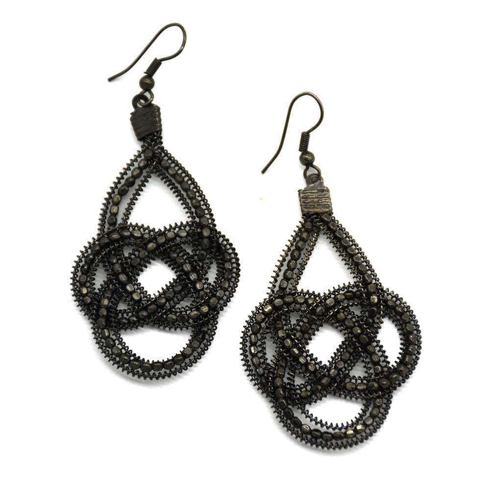 Black Beaded Wired Earrings