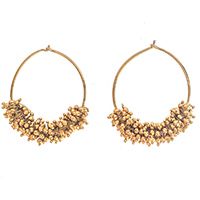 MEA-433,Round Mogra Wire Gold Oxidised Earring, Nickel Free1 a