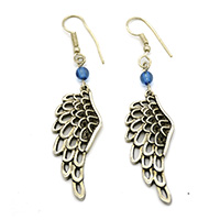 Sky Blue Beads Feather Silver Earrings
