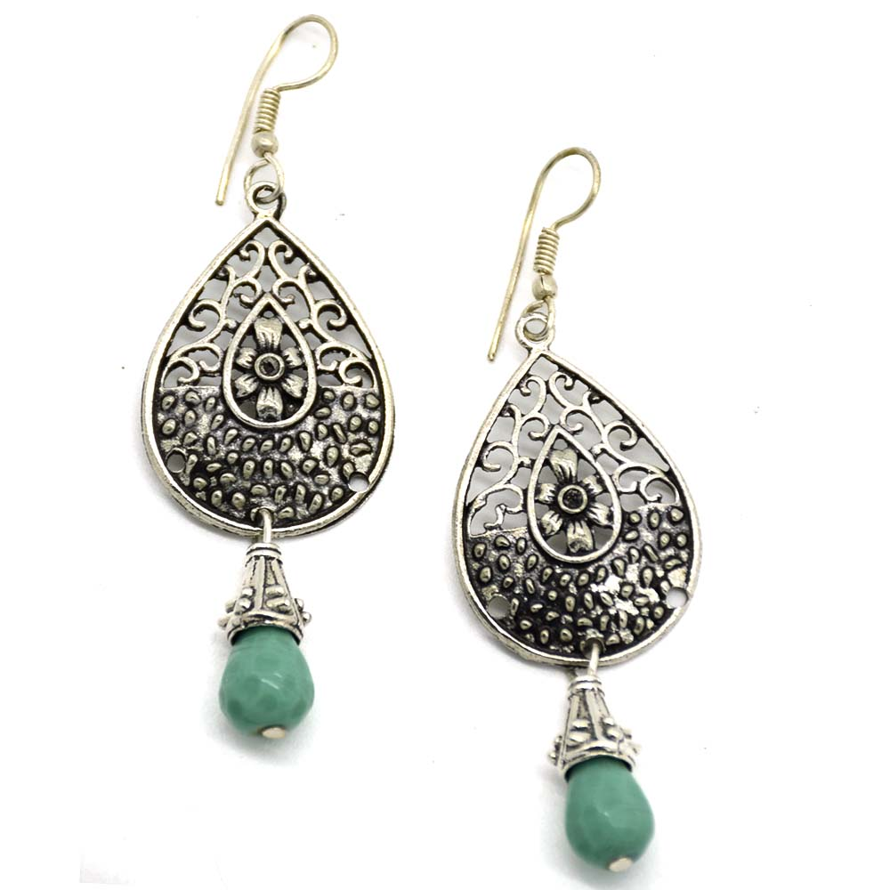 Sajai Green Glass Jali Earrings
