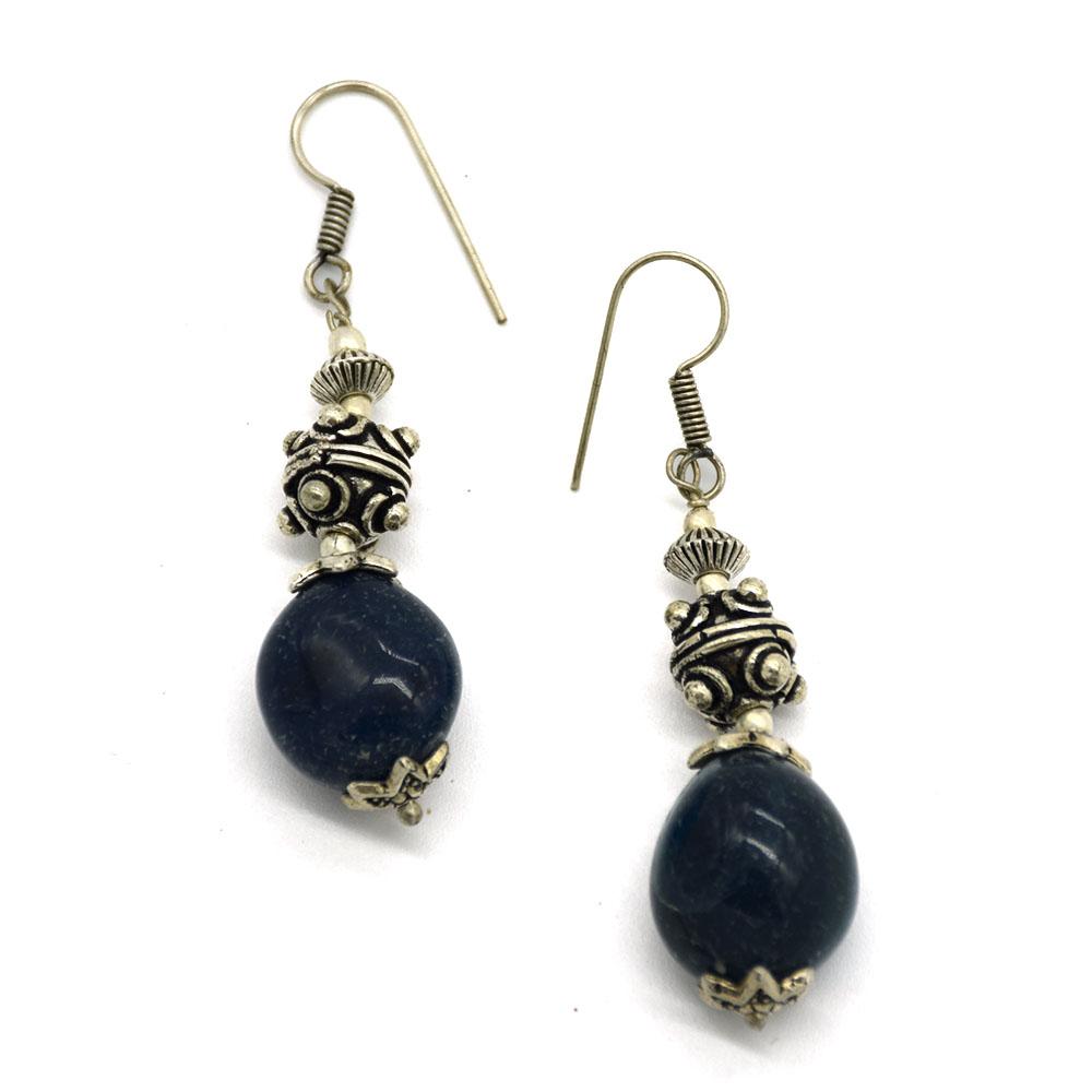 Lapis Stone Round Ball Earrings