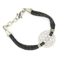 MMcA-2505,Round Jali Beaded 2 Rows Men Bracelet-Grey-a