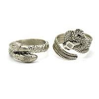 Silver Snakes Men Finger Ring