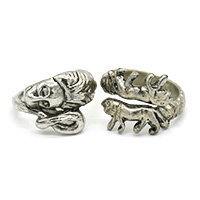 MMcA-2510, Animals Silver Oxidised Man Finger Ring@a