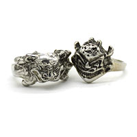 MMcA-2511,Devil Silver Oxidised Man Finger Ring@a