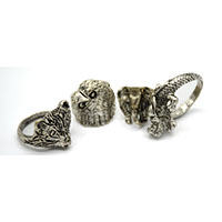 MMcA-2512, Eagle & Fox Silver Oxidised Finger Ring@a