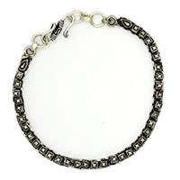 MMcA-2515,Diamond Cut Silver Oxidised Men Bracelet-a