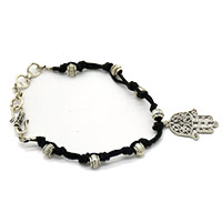 MMcA-2516,Black Beads Men Bracelet-Hamsa-a