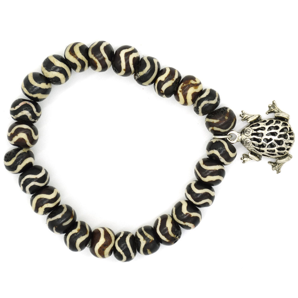 Bone Bead Frog charm Men Bracelet