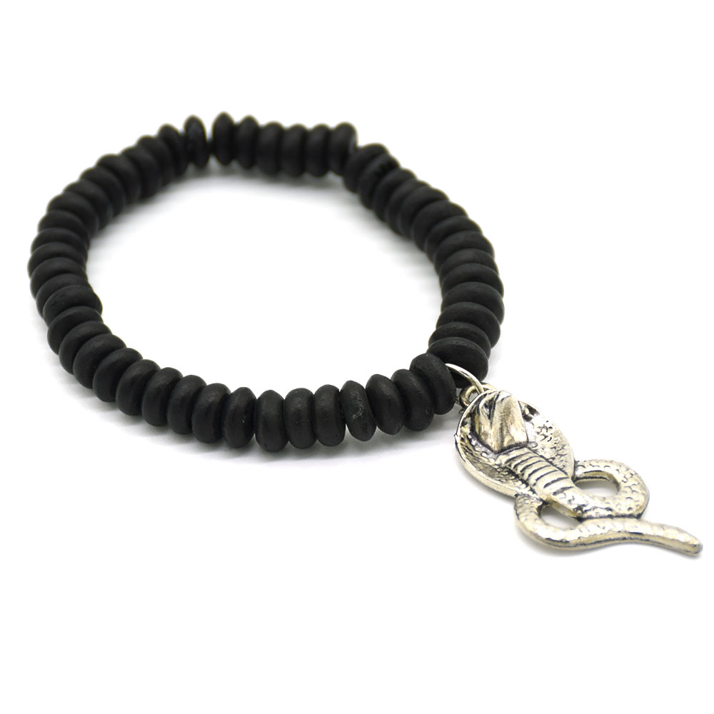 Black Bone Bead Snake Charm Men Bracelet