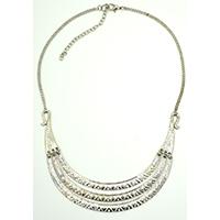 MNA-132,3 Rows Chittai Design Silver Oxidised Chain Necklace,Nickel Free a