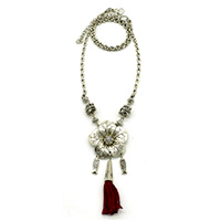 MNA-145A,Floral Red Tassel Fish Charm Silver Oxidised Chain Necklace-a