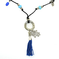 MNA-146,Round Net Ring with Black Thread Turquoise Metal Beads Tassel Hand Charm Silver Oxidised Necklace,Nickel Free-a